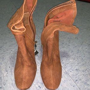 Zara squared toe cognac tan booties